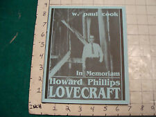 UNREAD: In Memoriam LOVECRAFT by cook, NECRONOMICON PRESS second edition '91