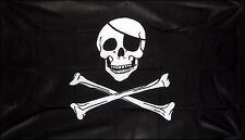 """PIRATE SKULL AND & CROSSBONES 18"""" X 12"""" FLAG boats treehouses caravans clubs"""