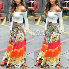 Women Summer Floral Boho Beach Cocktail Evening Party Long Maxi Skirt Sundress