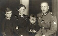 WWII German Army Large RPPC- Soldier- NCO- Frau- Wife- Son- Daughter- Ribbon