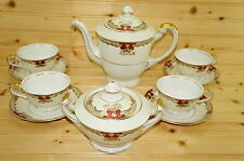"Meito 155 Teapot, 6"", w/Lid,  Sugar Bowl, (4) Cups, 2 1/4"" & (4) Saucers, 5 3/4"""