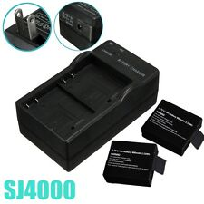 2 Dual Camera Battery Travel Wall Adapter Charger US For SJ4000 Sport Camera