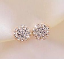 New Elegant Full Crystal Rhinestone Round Ear Stud Women's Ladies Earrings