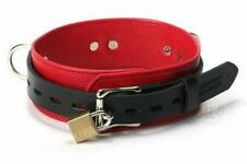 Genuine Leather Soft Deluxe Locking Collar Necklace- Red Black Choker w/D-Rings