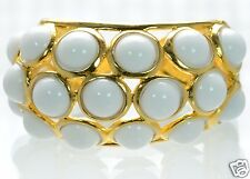 Kenneth Jay Lane White Cabochon Bubble Cuff Bracelet