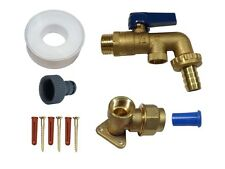 Brass Lever Outside Tap Kit For 20mm MDPE Pipe With DCV and Garden Hose Fitting