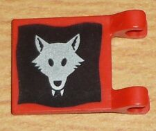 Lego Ritter 1 Fahne / Flagge (2 x 2) mit Wolf in rot / schwarz / silber