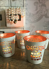 Set of 4 Home Sweet White Copper Votive Tea Light Candle Holder Decoration