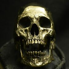 Brass skull ring Large open jaw no silver mens ring skull biker masonic