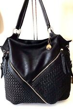 Big Buddha Black Hobo Shoulder Bag Purse Hang Tag Fringe Pulls Vegan Leather