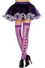 CUTE PURPLE FISHNET SPIDER SEAMED STOCKINGS HARAJUKU WITCH HALLOWEEN ZOMBIE