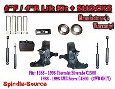 """1988 -1998 Chevy / GMC C15 C1500 C2500 2WD 6"""" / 4"""" Spindle Lift Kit + SHOCKS"""