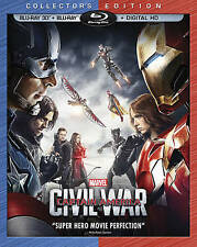 Marvel's Captain America: Civil War 3D Blu Ray + Blu-ray + Digital HD/slipcas
