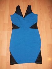 BNWT River Island @ ASOS Blue and Black Mesh Panel Bodycon Party Dress Size 10