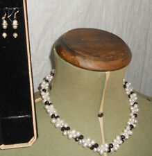 Necklace White Genuine Pearls Black Faceted Jet matching drop earrings 30% off