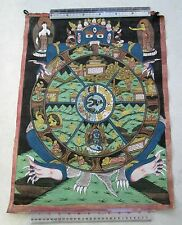Really Old Tibet Tibetan Hand Painted Buddhist Thangka Mandala Painting