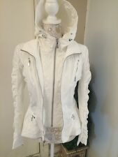$575 DAWN LEVY KARA Fit Flare Packable Hooded Hi-Low White Cloud Jacket S #138