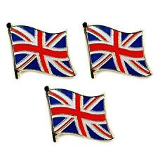 "LOT OF 3 BRITISH FLAG LAPEL PIN 0.5"" UK Union Jack England Pinback Hat Tie Badge"