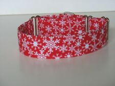 """1.5"""" Martingale Dog Collar Snowflakes on Red Background"""