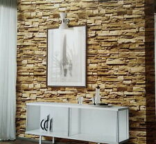 """3D Realistic Real Stacked Brick Stone Vinyl Background Wallpaper 20.8""""x393.7"""" ON"""
