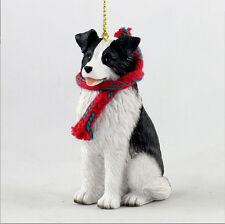 Border Collie Dog Christmas Ornament Scarf Figurine