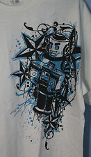 White Robot Boombox Turquoise and Black Design T-Shirt Adult 2XL