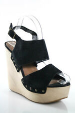 Steve Madden Black Wood Bottom Platform Wedges Sandals Size 9