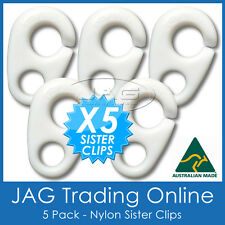 5 x NYLON SISTER CLIPS - Boat/Yacht/Sailing/Marine/Nautica/Flag/Pennant Staff