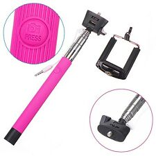 Monopod Selfie Stick Telescopic Built-in Bluetooth Wireless Remote Holder Pink