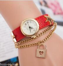 UNIQUE DESIGN LOVE LOCK PENDANT STAR STUDDDED LEATHER STRAP LADIES WATCH - RED