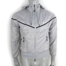 Vintage NIKE Jacket Windrunner Silver (Womens 8-10) Hooded Track Retro 90's/80's