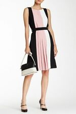 NWT kate spade new york Pink Black White Colorblock Pleated Dress 4 $378