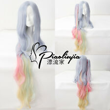 NO GAME NO LIFE Shiro 120cm Rainbow Split Ponytail Cosplay Anime party Hair Wig