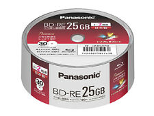 30 Panasonic Bluray BD-RE 25GB 2X Original Spindle Printable Blu-Ray Rewritable