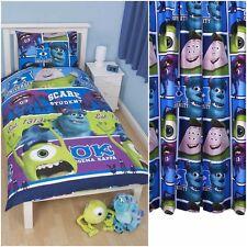 """Niños Disney Pixar Monsters Inc Cama individual cover set y cortinas de 66"""" X 72"""""""