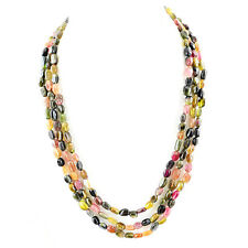 RARE 320.00 CTS NATURAL 3 STRAND RICH WATERMELON TOURMALINE OVAL BEADS NECKLACE