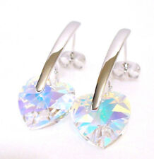 White Gold Plated Swarovski Elemet AB Clear Crystal Big Heart Charm Earrings