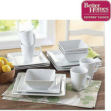 Dinnerware Set 16Piece Square White Porcelain Kitchen Plates Dishes Service Mugs