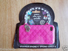 Etui Coque en silicone pour iPhone 4 de couleur rose de type sac à main