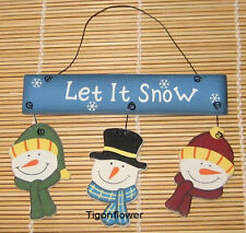 Wood Cut Out Sign Country Primitive Let It Snow 3 Snowmen Buy 2 get 1 Free mix