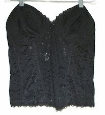 Fredericks of Hollywood Black Flowered Lace Boned Strapless Bustier Size 38 D