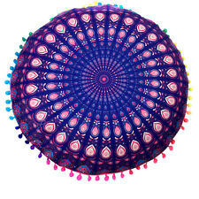 Indian Mandala Print Floor Round Bohemian Throw Sofa Pillows Case Cushions Cover