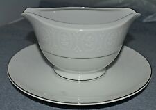 Sone China Made in Japan (#2467) Gravy Boat w/Attached Plate White w/Silver Trim