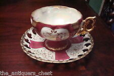 Royal Sealy Japan lusterware footed cup& saucer,pink/purple white & gold[*a5-b2]