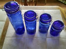 4 Vintage Cobalt Blue Hexagon Glass Jar with Wire Clamp Lid w/ seal Canister