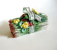 Fitz and Floyd Classics Herb Garden Covered Asparagus Dish 1996