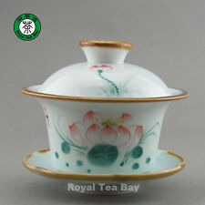 Early Morning Lotus flower Lake Green Celadon Tea Cup Bowl Gaiwan 150ml GW045