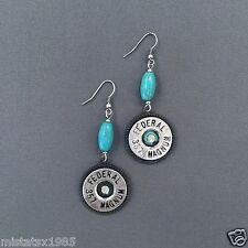 Patina Turquoise Stone Federal 357 Magnum Shell Drop Dangle Style Earrings