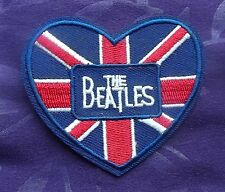 THE BEATLES EMBROIDERED PATCH HEART UK FLAG JOHN LENNON PAUL MCCARTNEY DIY