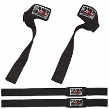 VELO Padded Wrist Wraps Neoprene Support Straps Hand Bar Weight Lifting Gym BLK